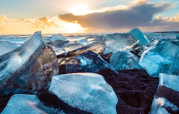 Картинка лед, небо, облака, Исландия