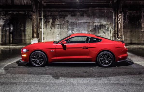 Картинка Mustang, Ford, Красный, Колеса, Машина, Свет, Тень, Фары, Диски