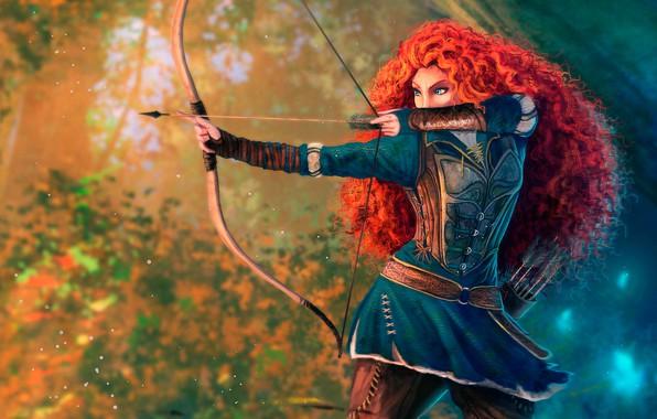 Картинка лес, девушка, поза, рисунок, мультфильм, лук, лучница, арт, стрела, рыжая, стрелы, принцесса, колчан, боке, princess, …