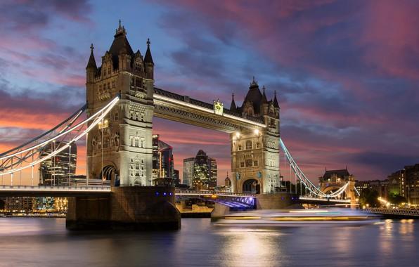 Картинка огни, река, Англия, Лондон, Тауэрский мост