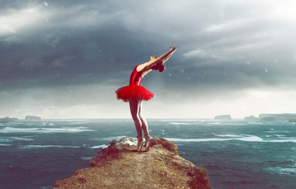 Картинка море, небо, девушка, облака, поза, пасмурно, скалы, танец, фигура, платье, горизонт, непогода, ножки, балерина, пачка, …