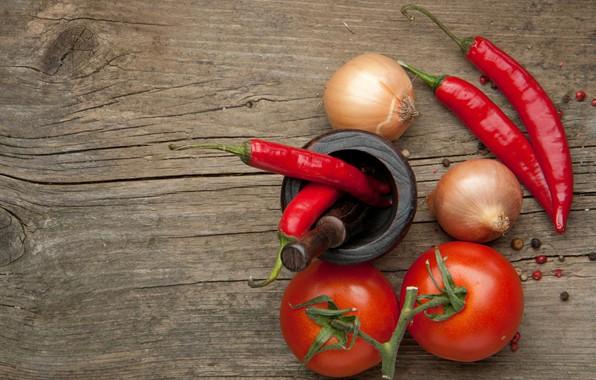 Картинка стол, лук, перец, томаты