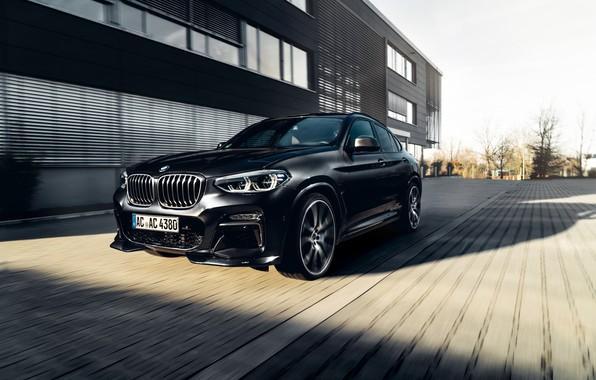 Картинка машина, движение, фары, BMW, диски, кроссовер, AC Schnitzer, BMW X4, решётка радиатора, G02