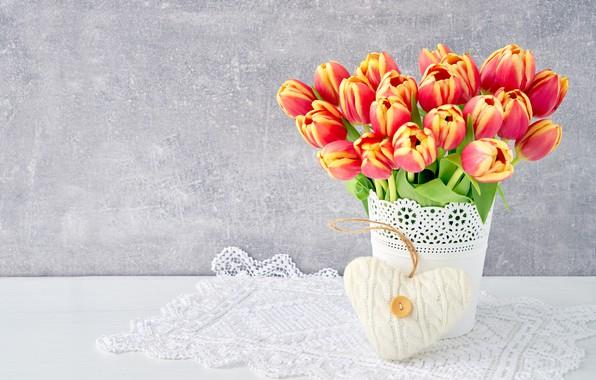 Картинка любовь, цветы, сердце, букет, colorful, тюльпаны, red, love, flowers, beautiful, romantic, tulips, valentine's day, spring