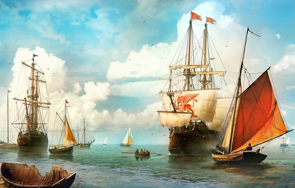 Картинка парусник, Vladimir Manyukhin, The Venetian ship, Венецианский корабль