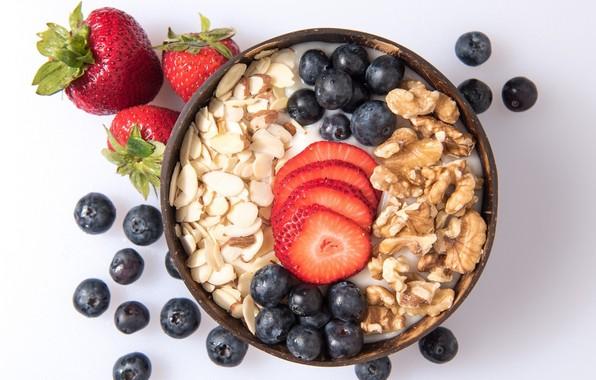 Картинка ягоды, завтрак, орехи, йогурт, овсянка