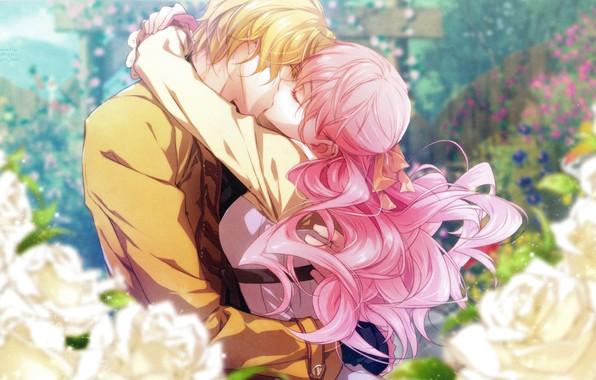Картинка романтика, поцелуй, объятия, розовые волосы, wand of fortune, lulu, visual novel, в саду, жезл фортуны, …