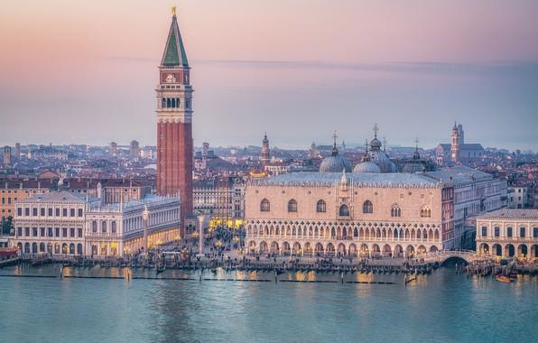 Картинка здания, башня, дома, площадь, Италия, Венеция, канал, набережная, Italy, дворец, Venice, Гранд-канал, Дворец дожей, Piazza …