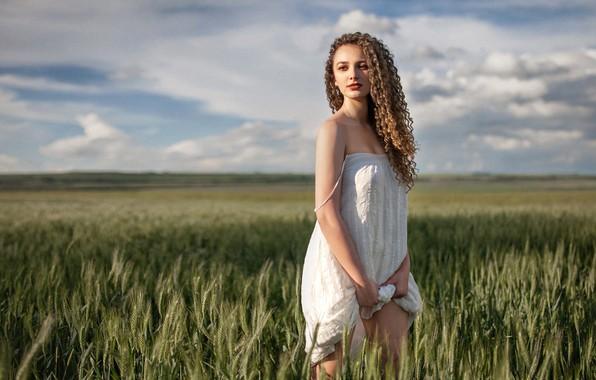 Картинка поле, небо, солнце, облака, природа, поза, модель, портрет, макияж, платье, горизонт, прическа, колосья, шатенка, стоит, …