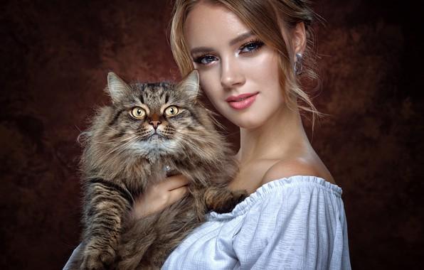Картинка кот, взгляд, девушка, лицо, фон, портрет, пушистый, Вячеслав Цуркан, Жанна Максимова