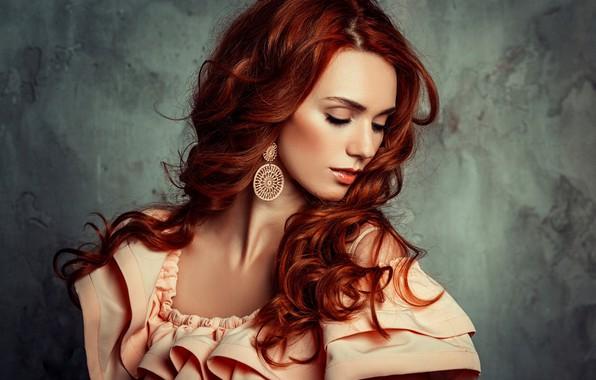 Картинка девушка, поза, волосы, портрет, платье, рыжая, красивая, локоны, Liliya Nazarova