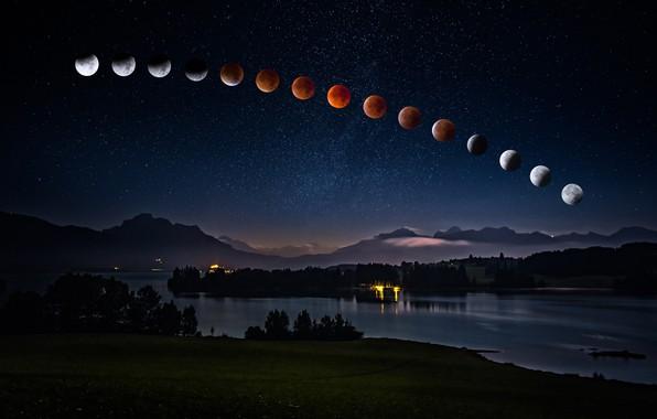 Картинка лето, небо, космос, звезды, пейзаж, горы, ночь, огни, темнота, луна, берег, вершины, дымка, полнолуние, водоем, …