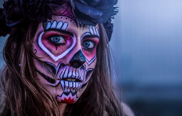 Картинка взгляд, девушка, лицо, Катрина, Día de Muertos, Day of the Dead, День мёртвых, Catrina, Sugar …