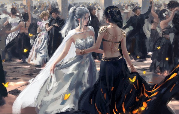 Картинка fantasy, long hair, dress, girls, people, dance, elf, digital art, artwork, dancing, fantasy art, butterflies, …