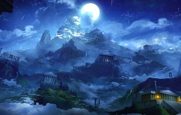 Картинка небо, звезды, облака, ночь, луна, дымка, moon, sky, night, clouds, stars, fantasy art, луч света, …