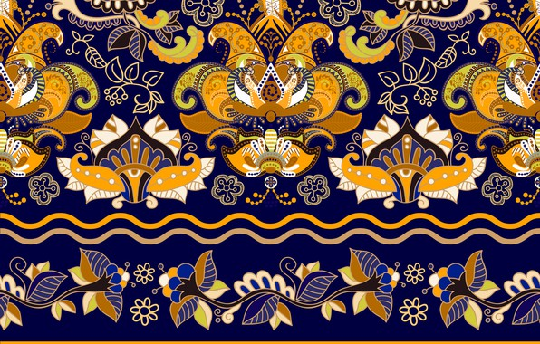 Картинка желтый, узор, текстура, wallpaper, орнамент, синий фон, Colorful, floral