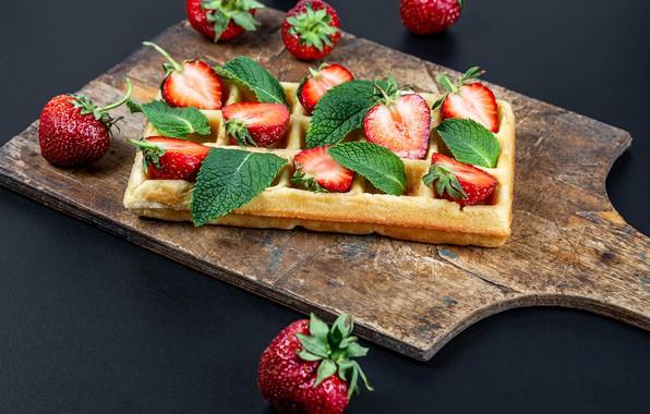 Картинка ягоды, клубника, вафли, выпечка, strawberry