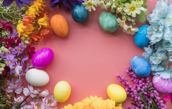 Картинка цветы, яйца, colorful, Пасха, happy, wood, flowers, eggs, easter, decoration
