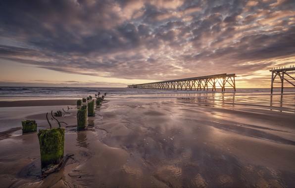 Картинка море, закат, мост, берег