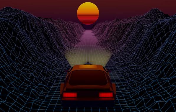Картинка Солнце, Авто, Музыка, Машина, Звезда, Фон, 80s, Neon, 80's, Synth, Retrowave, Synthwave, New Retro Wave, ...