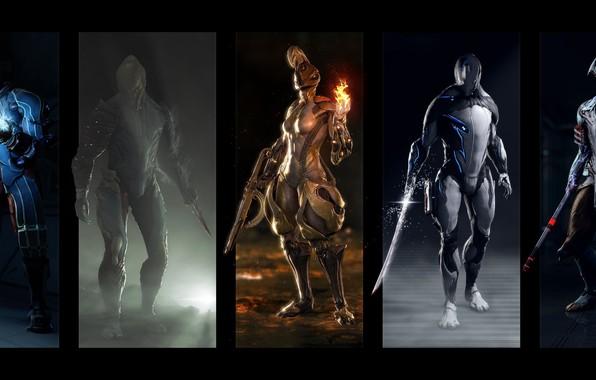 Картинка оружие, костюм, Вольт, ash, game, warriors, volt, warframe, suits, Эмбер, excalibur, Экскалибур, ember, voban, Вобан