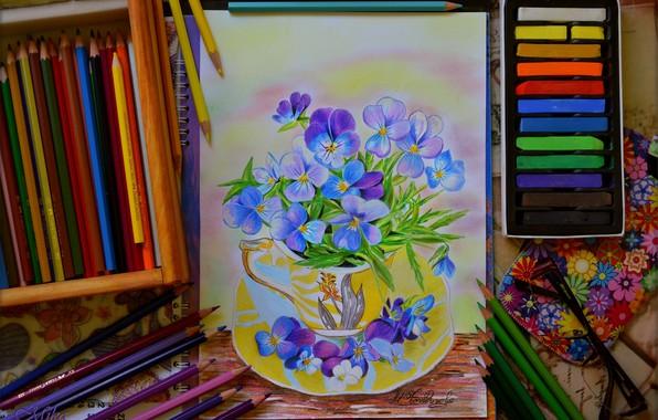 Картинка Карандаши, Цветочки, Art, Colors, Pencils