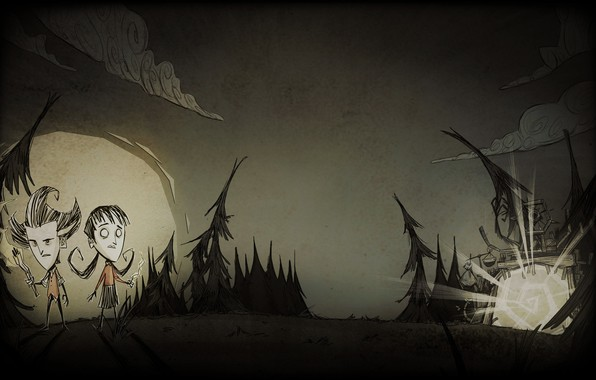 Картинка лес, небо, облака, луна, ели, ч/б, выживание, Уилсон, together, Wilson, Willow, don't starve, квест, Уиллоу