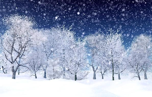 Картинка зима, снег, деревья, снежинки, landscape, winter, snow, tree
