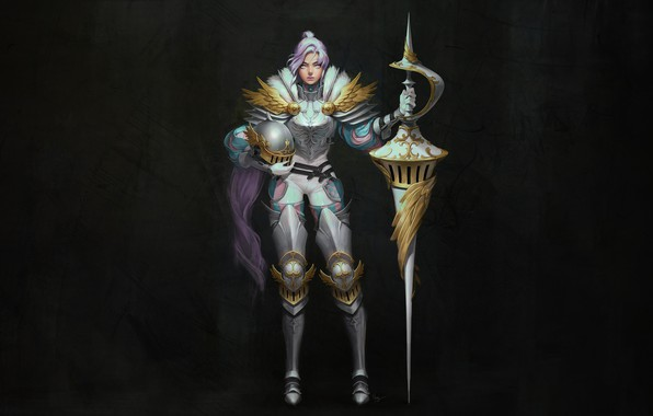 Картинка Girl, Fantasy, Art, Style, Warrior, Minimalism, Helmet, Armor, Harang, Knight spears, Medieval Helmet