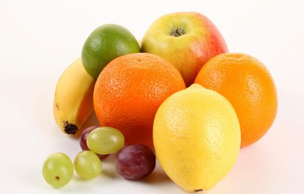 Картинка белый фон, фрукты, витамины