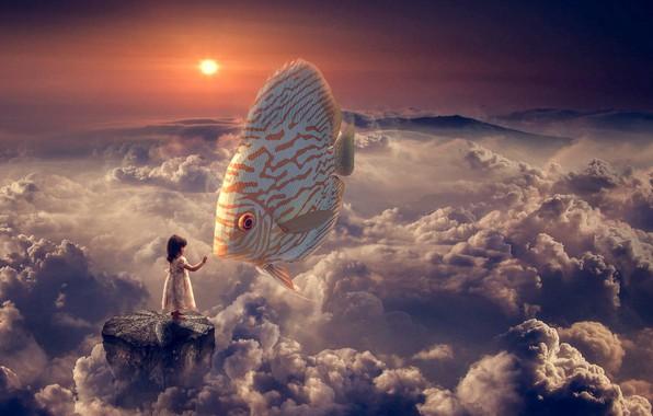 Картинка облака, рыба, девочка