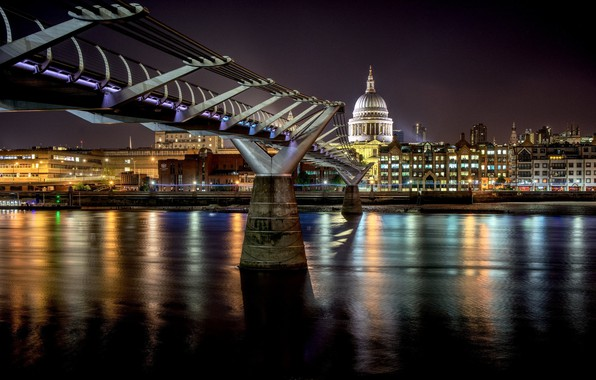 Картинка ночь, мост, Лондон, Великобритания, Millennium Bridge