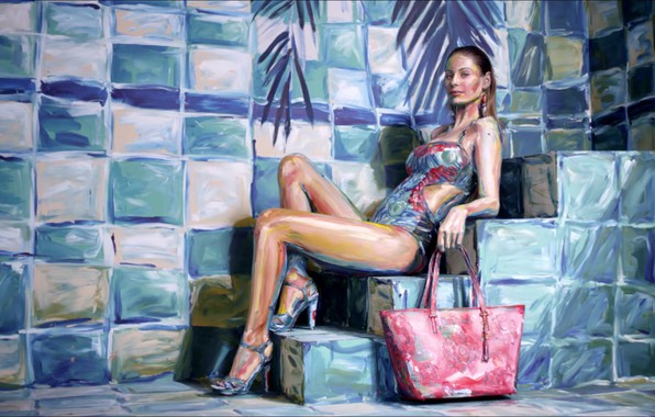 Картинка one piece, painting, swimsuit, high heels, steps, Alexa Meade, 3d painting, Mathilde Goehler