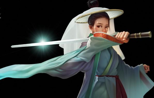 Картинка girl, sword, fantasy, weapon, katana, digital art, artwork, black background, Samurai, fantasy art, kimono, simple …