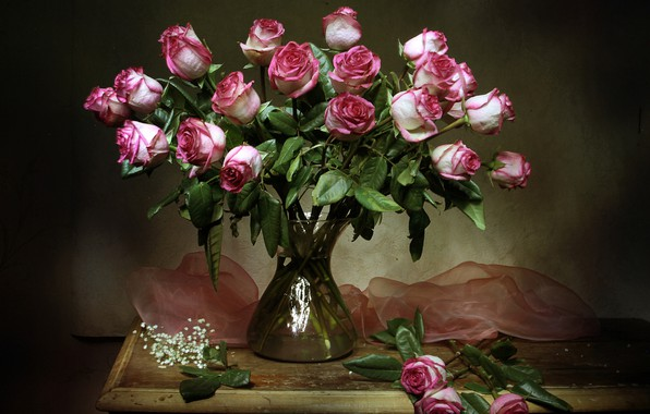 Картинка цветы, стол, розы, ваза, натюрморт, тюль