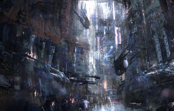Картинка Город, Будущее, Машины, City, Арт, Art, Фантастика, Concept Art, Architecture, Science Fiction, Cyberpunk, Environments, Transport …