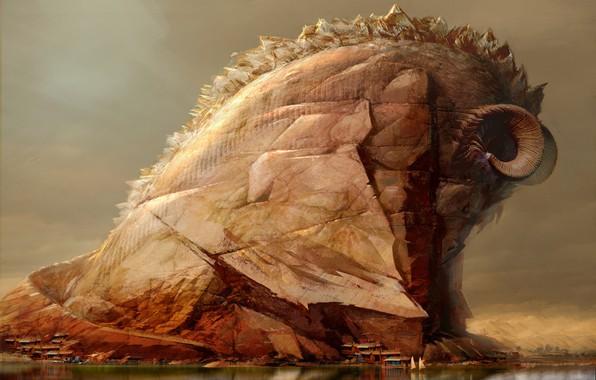 Картинка Горы, Скала, Fantasy, Art, Daniel Dociu, Guild Wars, Животное, by Daniel Dociu, Wold wonders, Горный ...