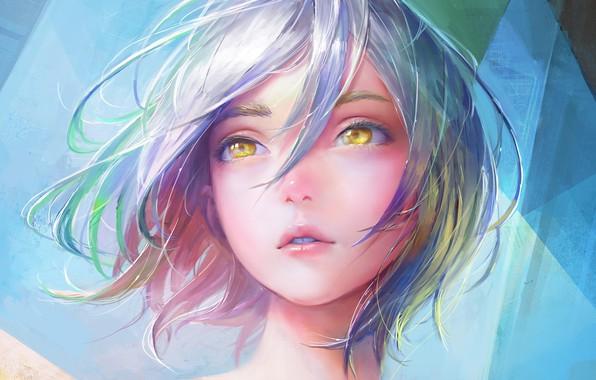 Картинка Girl, art, short hair, lips, face, digital art, artwork, mouth, hazel eyes, blue hair