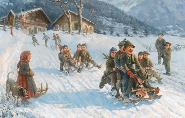 Картинка German painter, немецкий живописец, oil on canvas, Lustige Schlittenfahrt, Funny sleigh ride, Веселая санная прогулка, …