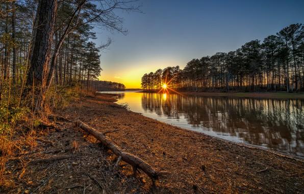 Картинка солнце, закат, озеро, рассвет