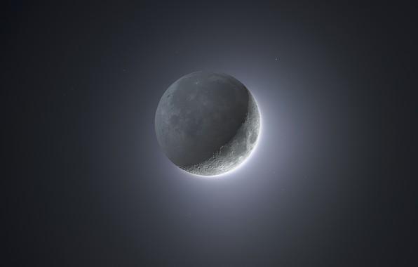 Картинка звезды, тень, Луна, Moon, stars, кратеры, shadow, craters, Miguel Claro