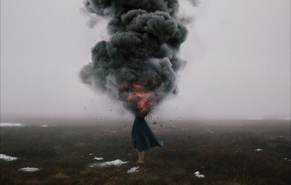 Картинка девушка, взрыв, ситуация, oops