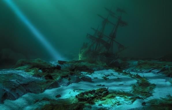 Картинка корабль, дно, луч, кораблекрушение, ship, bottom, shipwreck, beam, Сергей Парышков