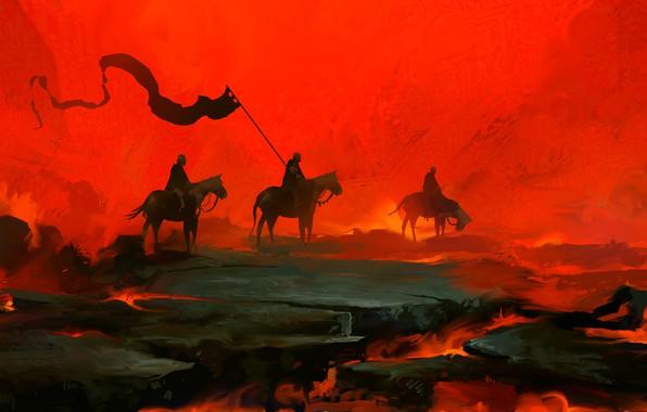 Картинка Красный, Рыцари, Fantasy, Art, Рыцарь, Войны, Concept Art, Dominik Mayer, by Dominik Mayer, 30 min ...