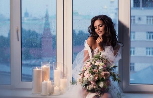 Картинка девушка, цветы, поза, стиль, настроение, букет, свечи, окно, невеста, Наталия Мужецкая