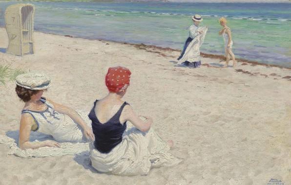 Картинка датский живописец, На пляже, Danish painter, Поль Густав Фишер, Paul Gustav Fischer, oil on canvas, …