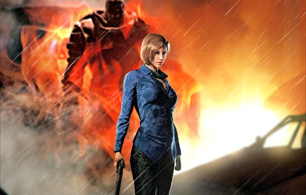 Картинка рендеринг, огонь, capcom, jill valentine, nemesis, Resident Evil 3