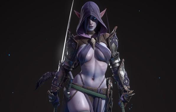Картинка девушка, оружие, капюшон, мечи, экипировка, тёмный эльф