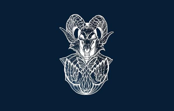 Картинка череп, мистика, рога, skull, horns, сатана, satan, mysticism