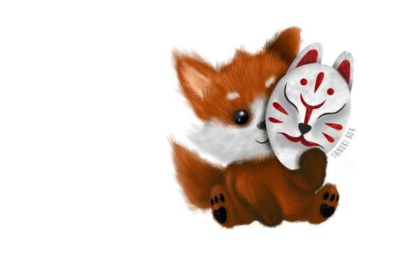 Картинка минимализм, аниме, маска, арт, лисичка, детская, Kitsune Mask, Alejandra Morfín